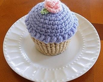 Crocheted Cupcake, Cupcake Pincushion, Purple Cupcake