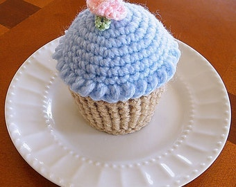 Cupcake Pincushion, Cupcake Pin cushion, Crocheted Cupcake, Cupcake Play Food, Blue Frosting Cupcake