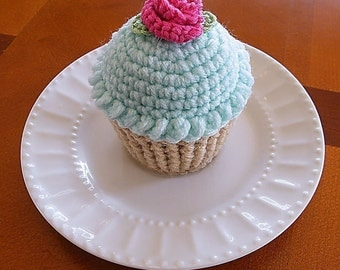 Cupcake Pincushion, Cupcake Pin Cushion, Crocheted Cupcake Mint