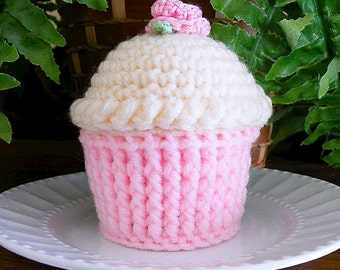 Cupcake Pincushion, Crocheted Cupcake, Butter Cream
