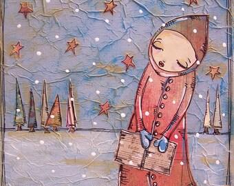 Art painting christmas carol sing music girl snow winter star gift original acrylic