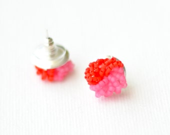 Red Pink Colorblock Stud Earrings cluster earrings