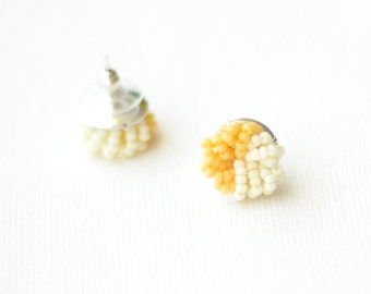 Colorblock Stud Earrings - Tan and Ivory cluster earrings