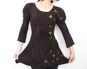 Cue the Strings - iheartfink Handmade Hand Printed Futuristic Womens Artistic Blouse Tunic Top