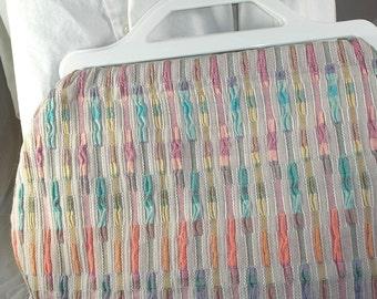 SALE Handbag clutch, sherbet color white plastic handles OOAK