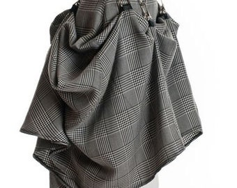 SteamPunk Black White Plaid Glen Plaid  Avant Garde Drapes Rockability Skirt