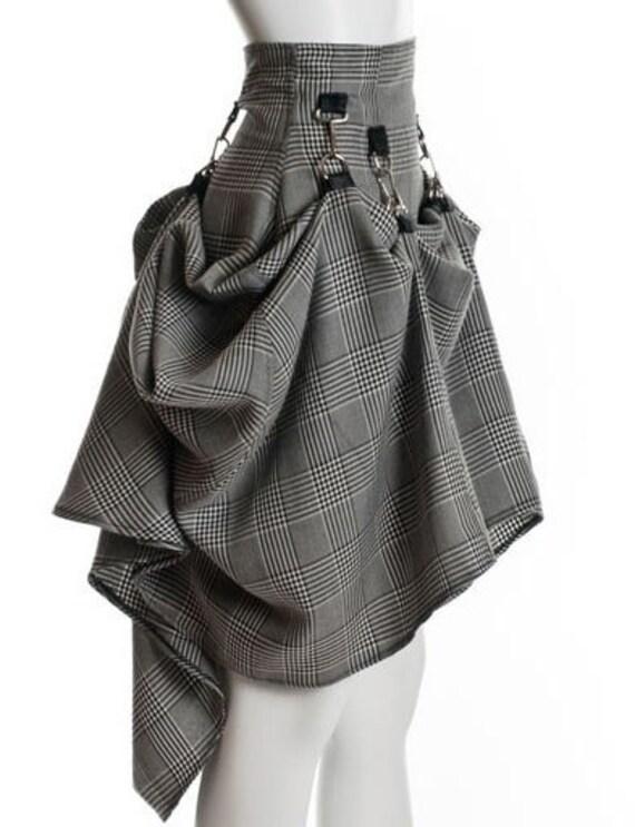 SteamPunk Black White Plaid Glen Plaid  Avant Garde Drapes Rockability Skirt