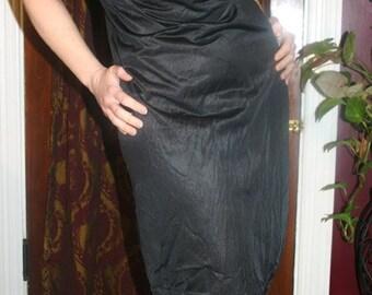 Vintage 1960s Body Chic Black Embroidered Slip 34