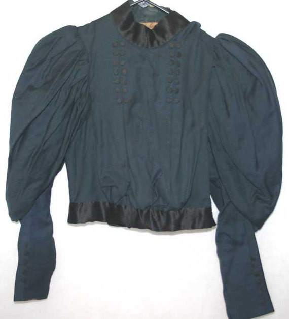 Antique Victorian Bodice Mourning Blouse Mutton Sleeves XS
