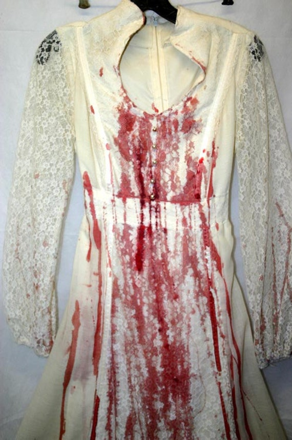 Vintage White Bloody Bride Halloween Costume Gown