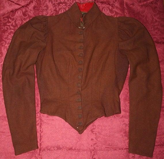 Antique Victorian Burnt Orange Wool Button Ladies Bodice