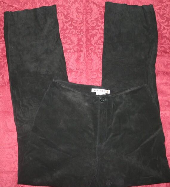 Vintage Black Soft Suede Leather Bootcut Pants Size 4