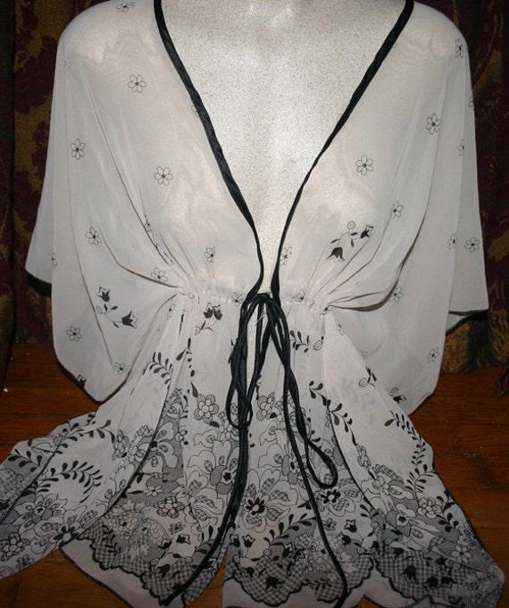 Vintage Ivory Black Flower Print Sheer Flowy Kimono Top S