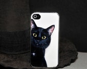 iPhone Case - Black Cat Peeking Around the Corner - iPhone 4 Hard Case, iPhone 5, iPod Touch 4, Samsung Galaxy S3, iPod Touch 5 - ebonypaws