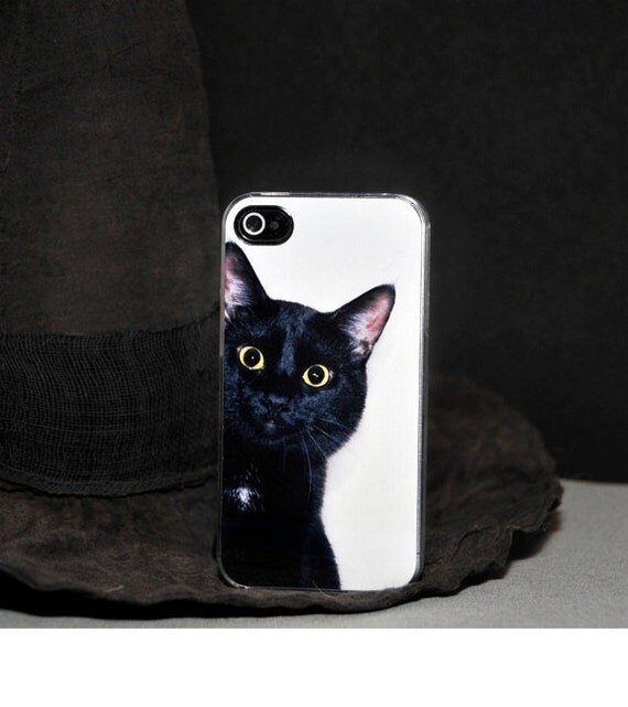 Phone Case Black Cat Peeking Around the Corner Hard by ...