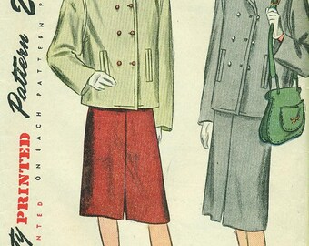 Simplicity 1913 Fantastic 1946 Two Piece Suit Skirt and BOXY DOUBLE-BREASTED Jacket