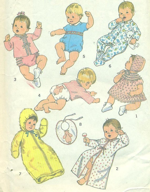 Simplicity 8761 Baby Layette with Transfer for Applique circa 1977