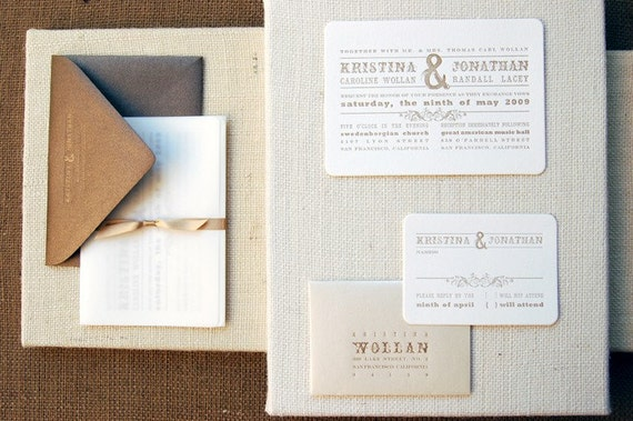 SAMPLE - Wedding Invitation - LETTERPRESS - Love Invited by Invited Ink