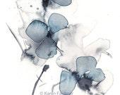 "Art print of watercolor indigo and grey flowers: ""Indigo Blossoms"""