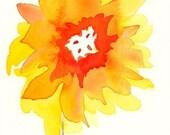 "Watercolor art print of yellow and orange sunflower: ""Sunset"""