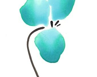 """Watercolor abstract flower art print:  """"Aqua Meets Sepia"""""""