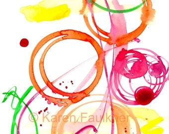"""Abstract colorful/multicolor watercolor art print, music-inspired: """"Jazz Ensemble"""""""