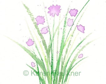 "Watercolor herbs, art print of chive blossom flowers: ""Chives"""
