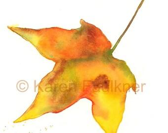 "Watercolor leaf giclee art print:  ""Falling Leaf"""