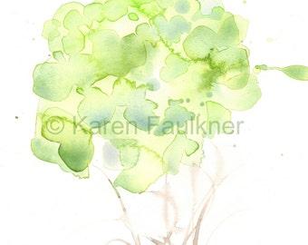 "Watercolor flowers, art print of pale green flowers: ""Woodland Bouquet"""