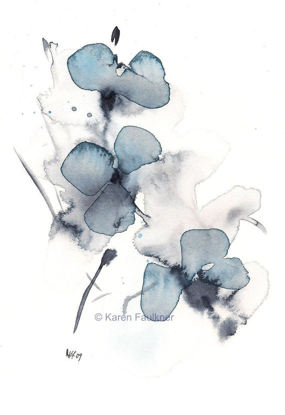 Art, Print, Giclee Print of Watercolor Painting: Indigo Blossoms