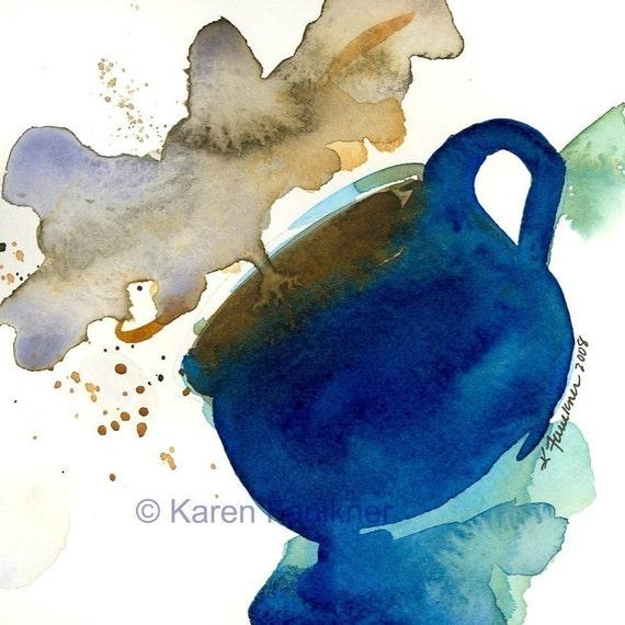 "Watercolor latte art print, cobalt blue coffee mug: ""Steamy"""