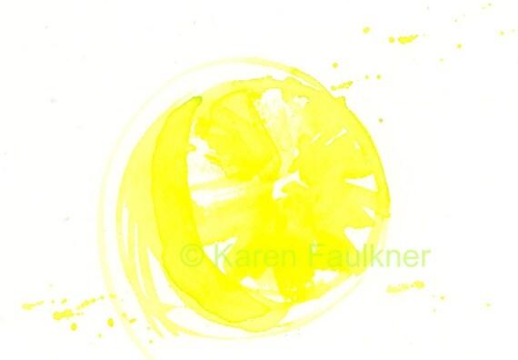 Original Watercolor Painting, Kitchen Art: Lemonade