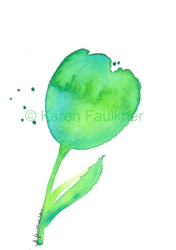 Teal Tulip original watercolor painting