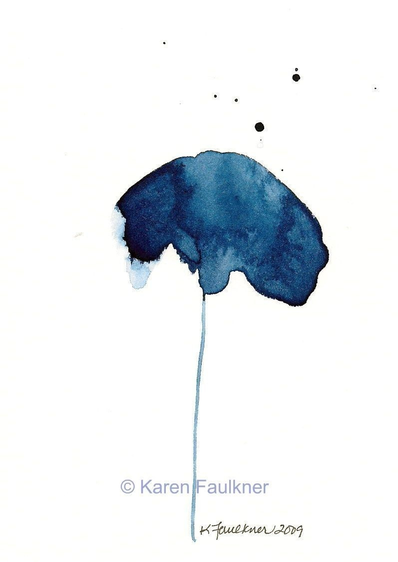 Art Print Print Of Minimalist Flower Watercolor Painting