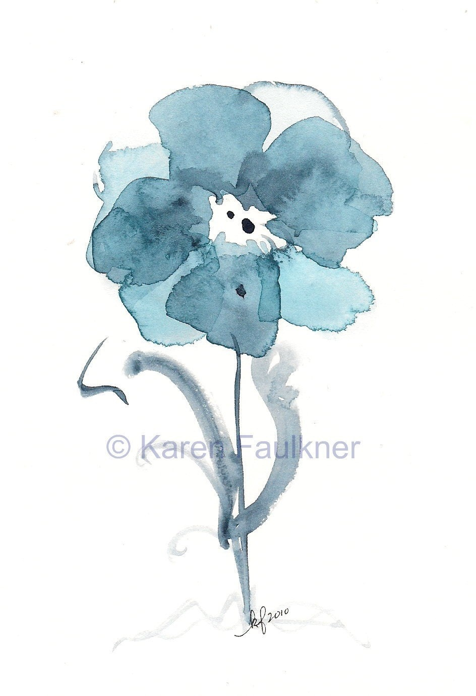 Indigo Blue Watercolor Flower Art Print By
