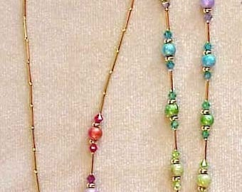 RAINBOW CRYSTAL made with  Swarovski Crystals Elements Eyeglass Chain Holder Silver or Gold