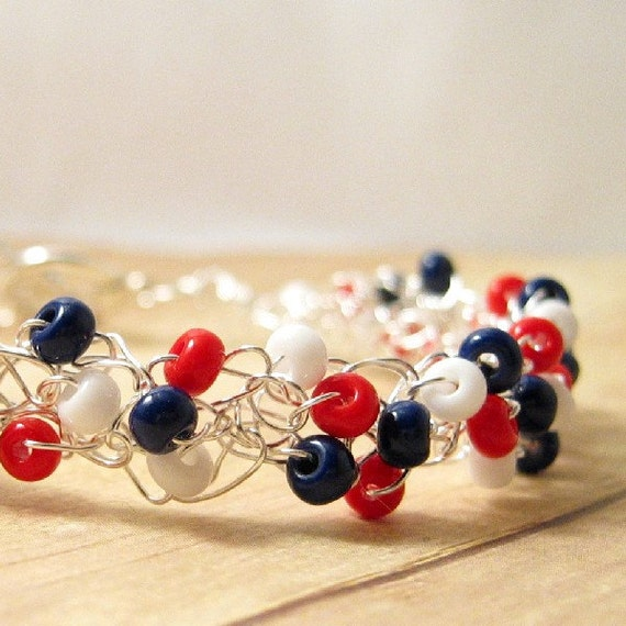 Red, White, and Blue Bracelet, Wire Crochet Bracelet, Patriotic Beaded Jewelry, Fourth of July Bracelet, USA Jewelry, Crocheted Jewelry