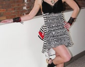 SALE Steampunk Noir Carnival mini bustle dress Organic Cotton Jersey Burning Man playa wear by Krisztina Lazar