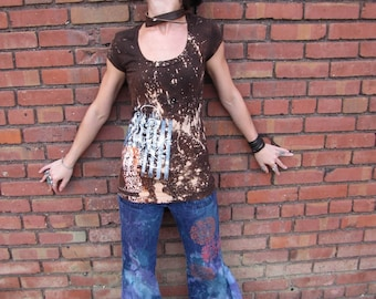 Electric Koolaid Acid Test Custom Created hand painted Screenprinted Dyed Jeans