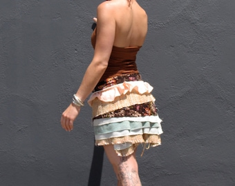 SALE Ruffled Layer Cake yummy Creative Wear wrap shawl bolero skirt by Krisztina Lazar playa burlesque evening ensemble