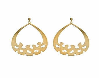 14k yellow gold plate gypsy Earrings as seen on Entourage. Rustic, shiny, ethnic, everyday, gypsy, minimal, statement, On sale, under 20