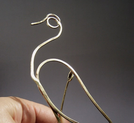Heron Brooch Brass wire - made to order