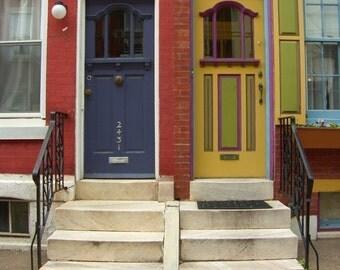 Yellow and Purple Doors of Fairmount 8 x 10 Original Photograph