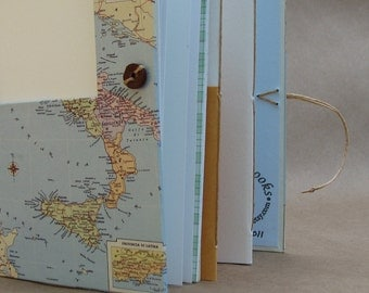 Italy Travel Journal with Pockets, Envelopes and Map - Small Photo Album - Mini Scrapbook - Personalized Just for You