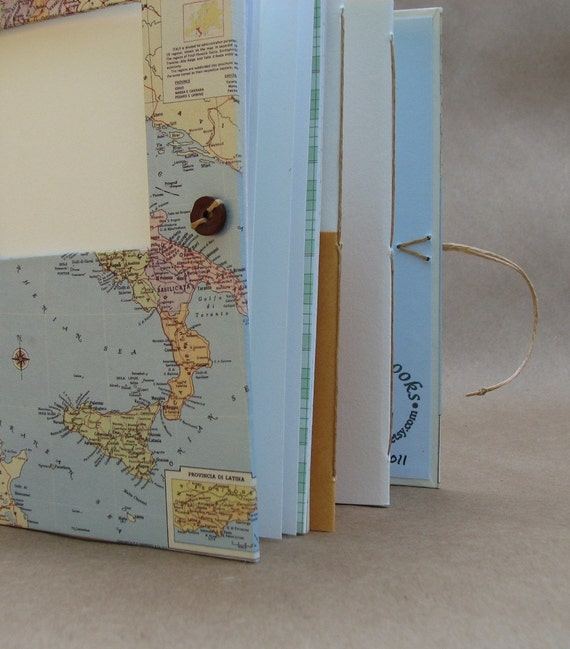 Italy Travel Journal Scrapbook Photo Album with Pockets, Envelopes and Map - Personalized Just for You