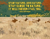 8x10 Study Nature, Love Nature Giclee Art Print - Matting Available - Free Shipping in US