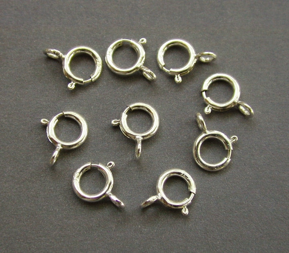 10 pcs - 5mm Sterling Silver Spring Open Clasp