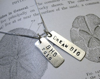 Personalized sterling silver tags on a sterling silver chain TWO custom stamped mothers day
