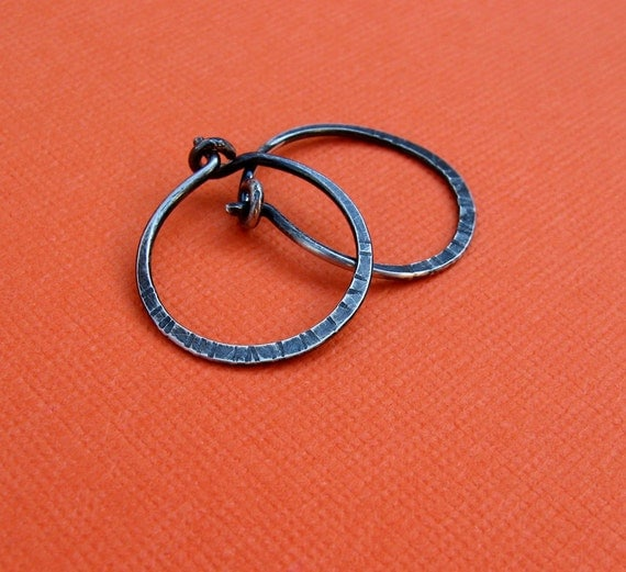 sterling silver small hoops-hammered, textured oxidized 5/8 inch