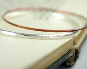 Stacking Bangle Bracelets  - set of two - EcoFriendly Sterling Silver and Copper - Boho Rustic Style - stackable bracelets